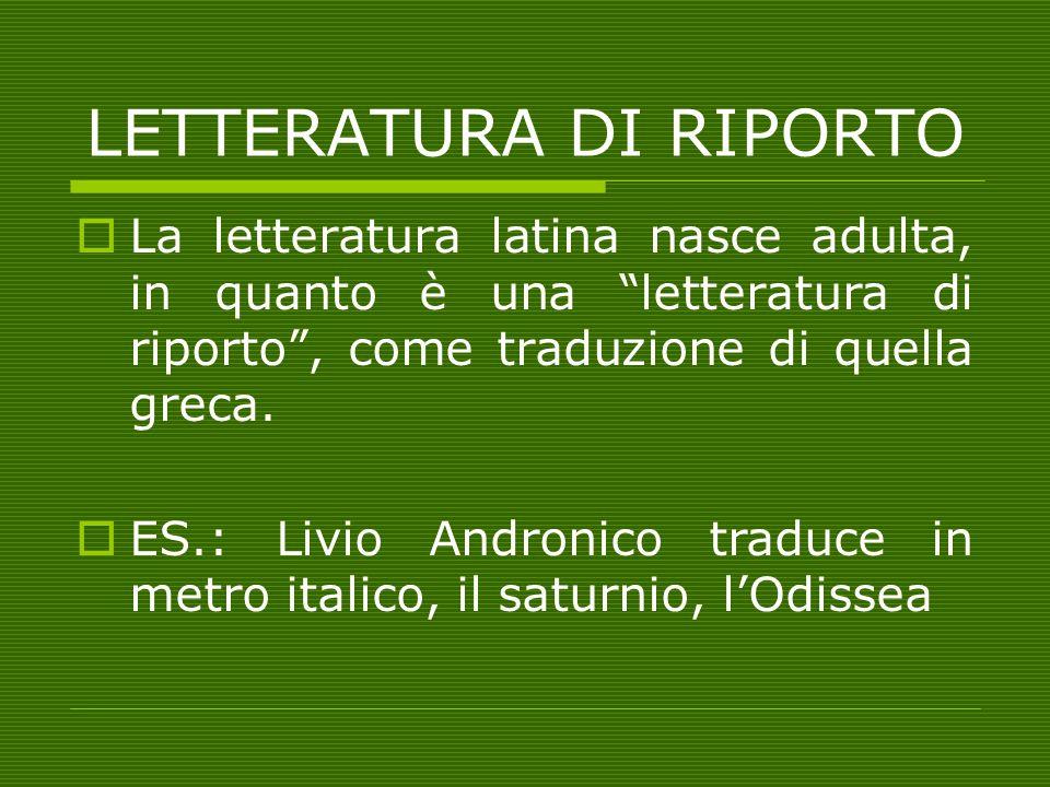 """LETTERATURA DI RIPORTO LLa letteratura latina nasce adulta, in quanto è una """"letteratura di riporto"""", come traduzione di quella greca. EES.: Livio"""