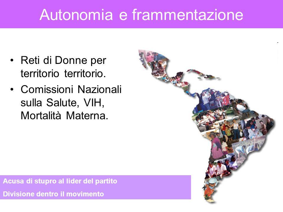 Autonomia e frammentazione Reti di Donne per territorio territorio. Comissioni Nazionali sulla Salute, VIH, Mortalità Materna. Acusa di stupro al lide