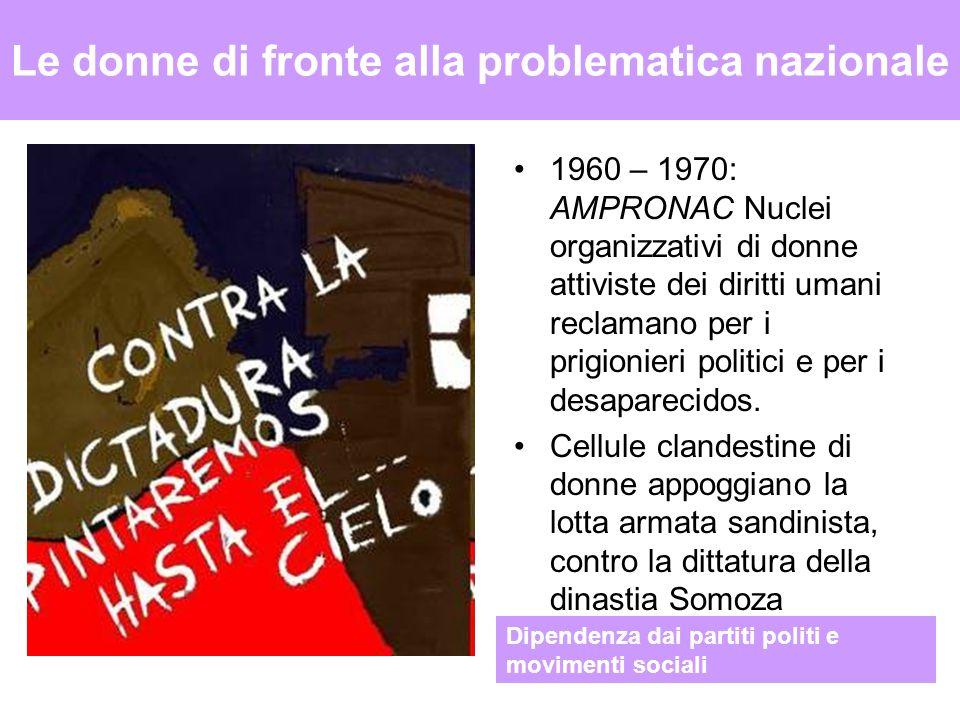 Le donne di fronte alla problematica nazionale 1960 – 1970: AMPRONAC Nuclei organizzativi di donne attiviste dei diritti umani reclamano per i prigionieri politici e per i desaparecidos.