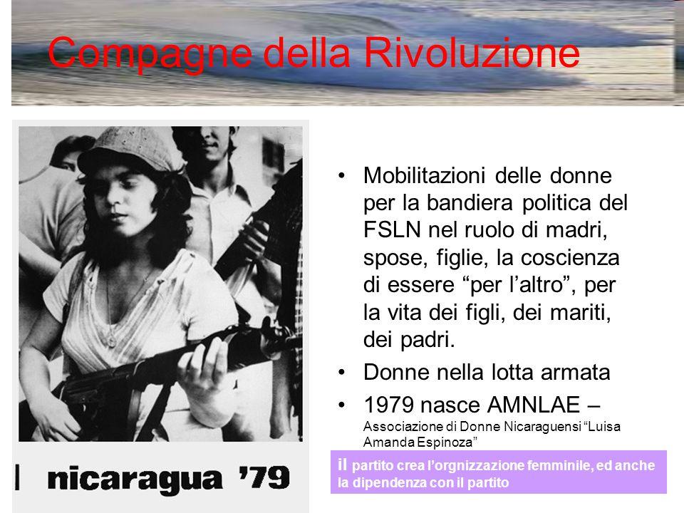Compagne della Rivoluzione Mobilitazioni delle donne per la bandiera politica del FSLN nel ruolo di madri, spose, figlie, la coscienza di essere per l'altro , per la vita dei figli, dei mariti, dei padri.