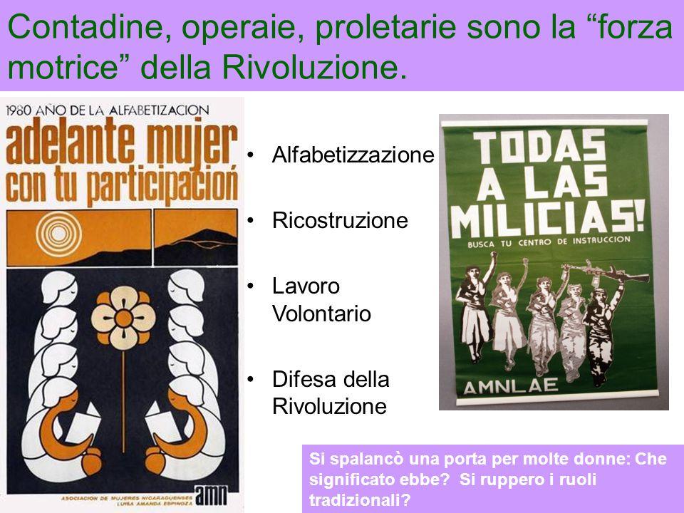 """Contadine, operaie, proletarie sono la """"forza motrice"""" della Rivoluzione. Alfabetizzazione Ricostruzione Lavoro Volontario Difesa della Rivoluzione Si"""