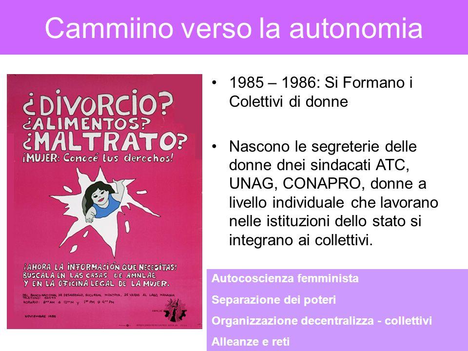 Cammiino verso la autonomia 1985 – 1986: Si Formano i Colettivi di donne Nascono le segreterie delle donne dnei sindacati ATC, UNAG, CONAPRO, donne a livello individuale che lavorano nelle istituzioni dello stato si integrano ai collettivi.