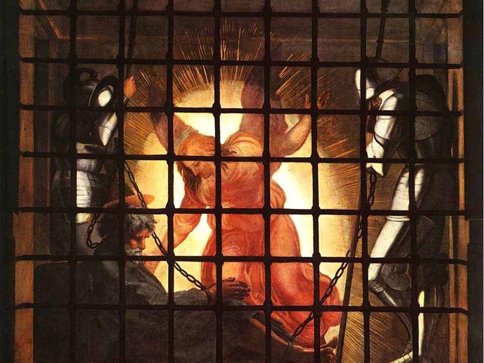 La luce che riempie la stanza della prigione, l'azione stessa di destare l'Apostolo, rimandano alla luce liberante della Pasqua del Signore che vince