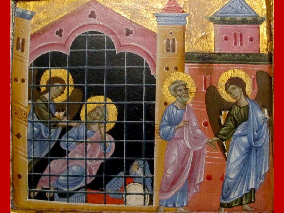 Pietro e l'Angelo del Signore compiono insieme un tratto di strada finché, rientrato in se stesso, l'Apostolo si rende conto che il Signore lo ha real