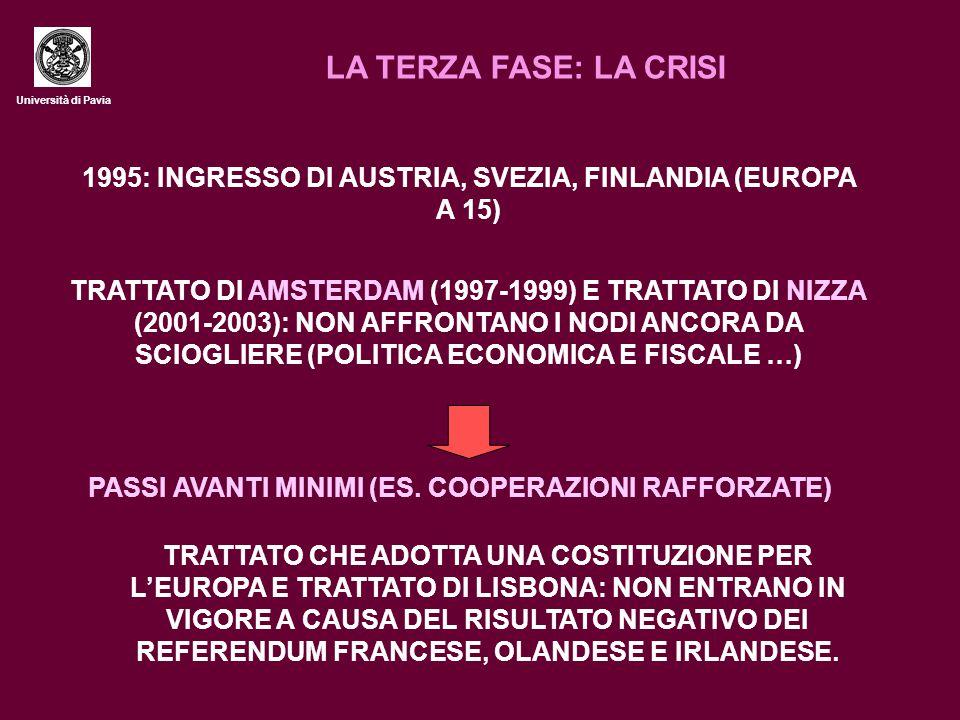 Università di Pavia LA TERZA FASE: LA CRISI TRATTATO DI AMSTERDAM (1997-1999) E TRATTATO DI NIZZA (2001-2003): NON AFFRONTANO I NODI ANCORA DA SCIOGLI