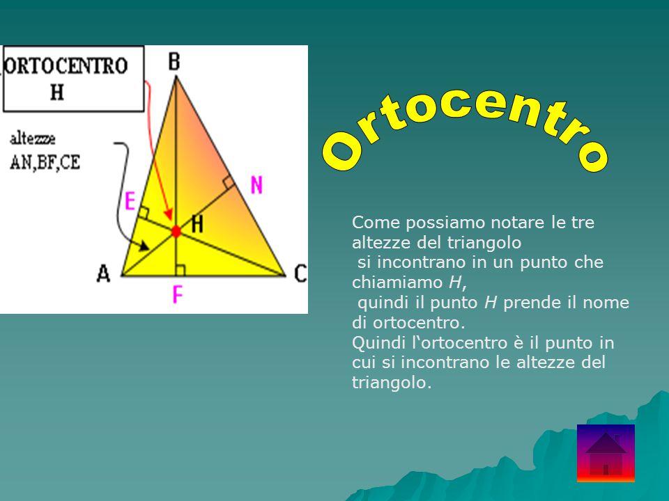Come possiamo notare le tre altezze del triangolo si incontrano in un punto che chiamiamo H, quindi il punto H prende il nome di ortocentro. Quindi l'