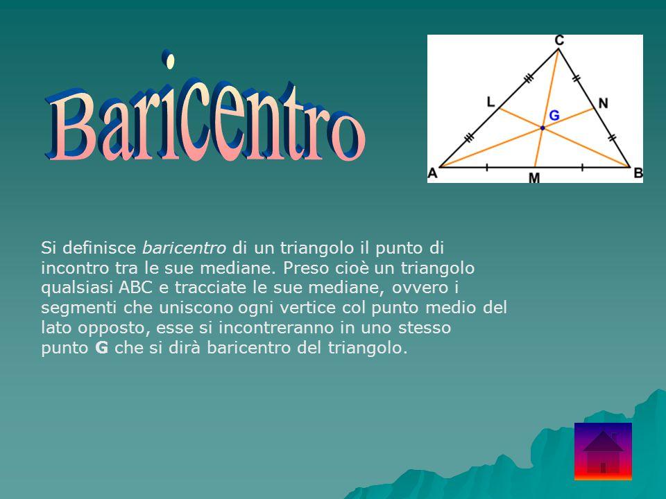 Si definisce baricentro di un triangolo il punto di incontro tra le sue mediane. Preso cioè un triangolo qualsiasi ABC e tracciate le sue mediane, ovv