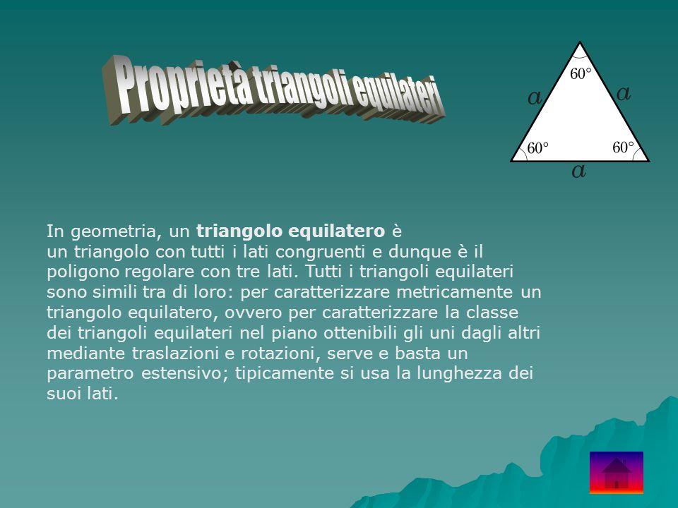 In geometria, un triangolo equilatero è un triangolo con tutti i lati congruenti e dunque è il poligono regolare con tre lati. Tutti i triangoli equil