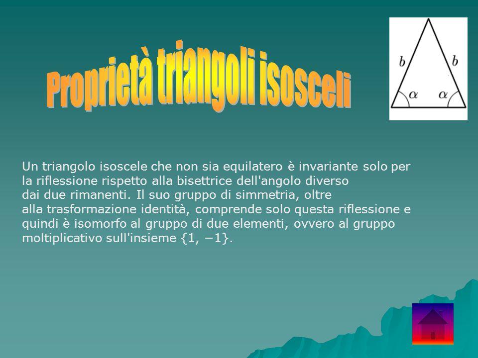 Un triangolo isoscele che non sia equilatero è invariante solo per la riflessione rispetto alla bisettrice dell'angolo diverso dai due rimanenti. Il s