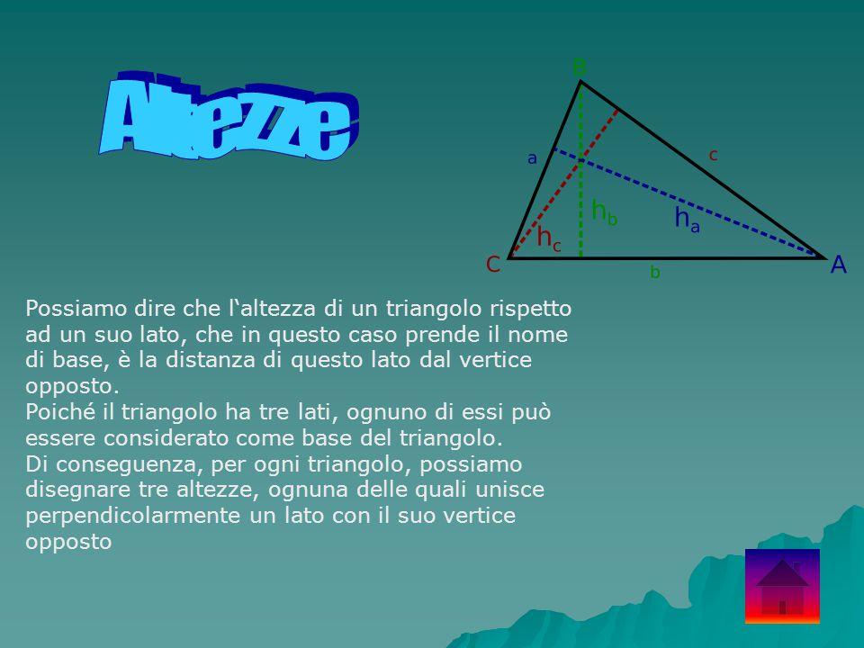 Possiamo dire che l'altezza di un triangolo rispetto ad un suo lato, che in questo caso prende il nome di base, è la distanza di questo lato dal verti