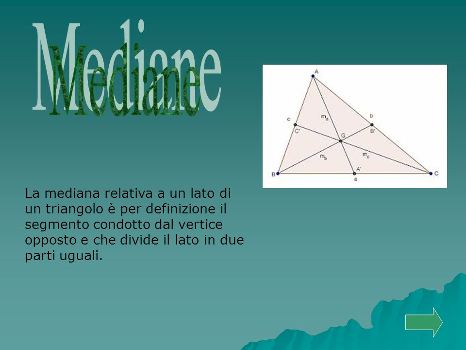 La mediana relativa a un lato di un triangolo è per definizione il segmento condotto dal vertice opposto e che divide il lato in due parti uguali.