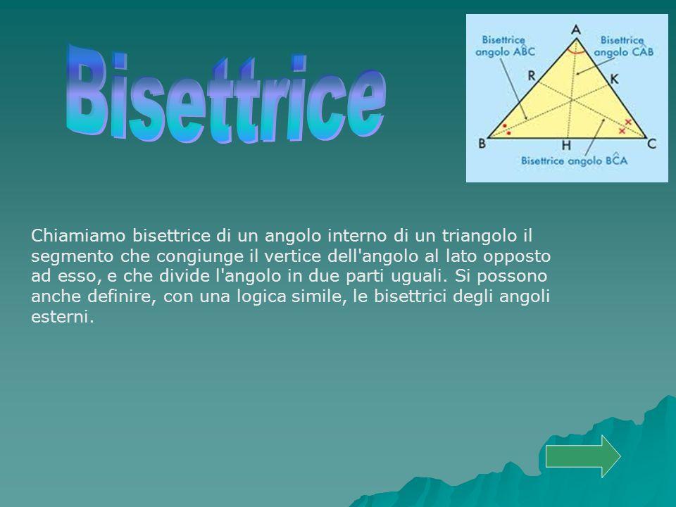 Chiamiamo bisettrice di un angolo interno di un triangolo il segmento che congiunge il vertice dell'angolo al lato opposto ad esso, e che divide l'ang