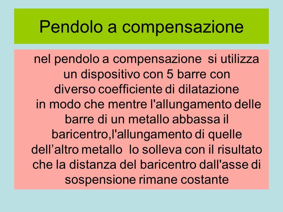 Pendolo a compensazione nel pendolo a compensazione si utilizza un dispositivo con 5 barre con diverso coefficiente di dilatazione in modo che mentre