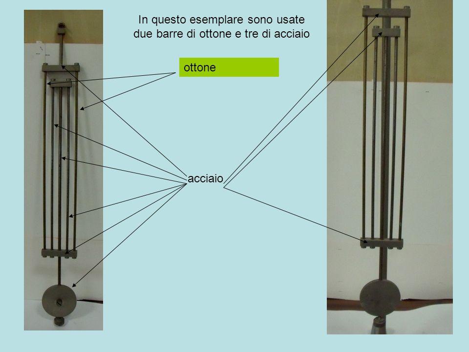 In questo esemplare sono usate due barre di ottone e tre di acciaio ottone acciaio