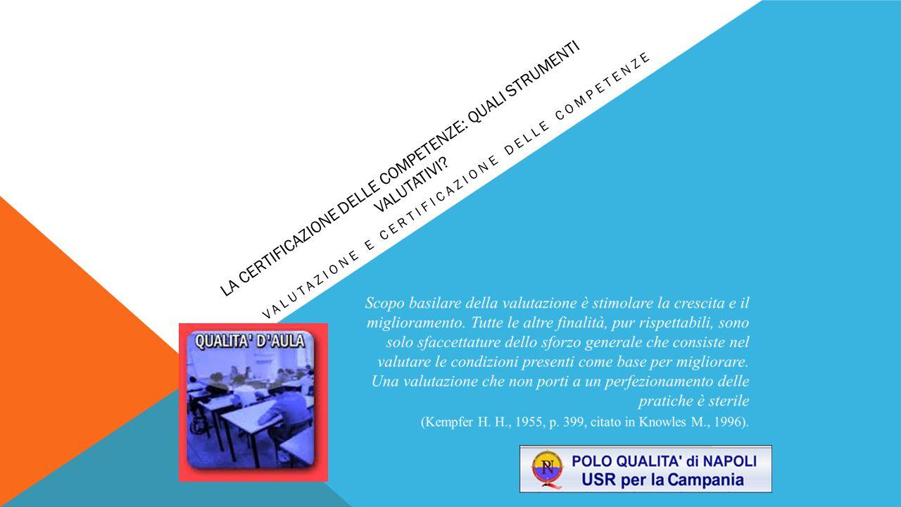 VALUTARE PER COMPETENZE LA FORMAZIONE DEI DOCENTI SULLA VALUTAZIONE COME PRIORITA' LA RICERCA VALUTATIVA TRA IERI ED OGGI REPERTORIO DI BUONE PRASSI VALUTATIVE PER UNA DIDATTICA PER COMPETENZE LA CERTIFICAZIONE DELLE COMPETENZE: QUALI STRUMENTI VALUTATIVI?