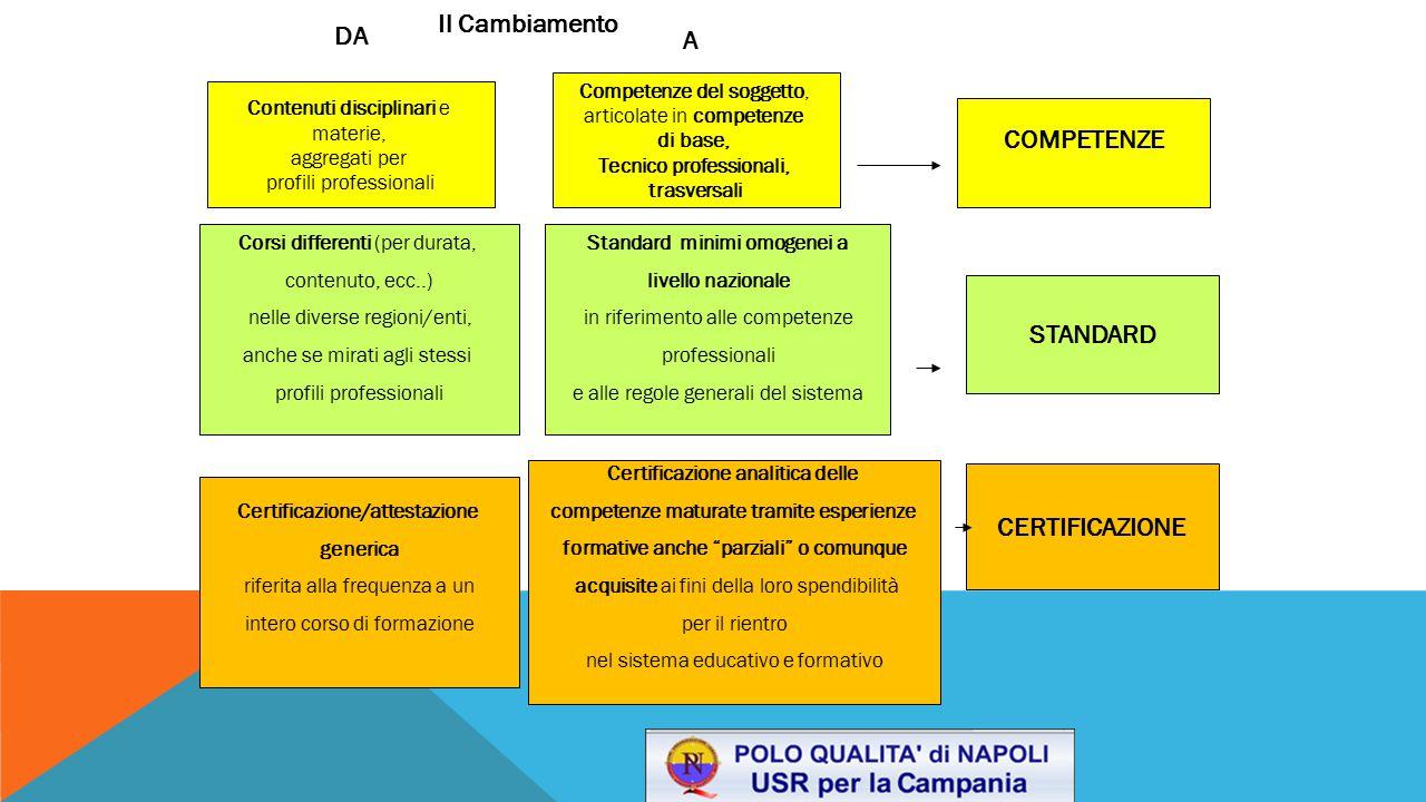 STANDARD Contenuti disciplinari e materie, aggregati per profili professionali COMPETENZE Competenze del soggetto, articolate in competenze di base, T