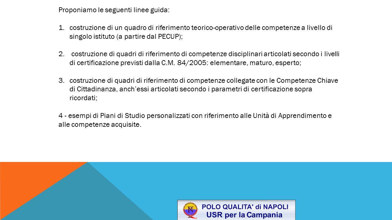 Proponiamo le seguenti linee guida: 1.costruzione di un quadro di riferimento teorico-operativo delle competenze a livello di singolo istituto (a part