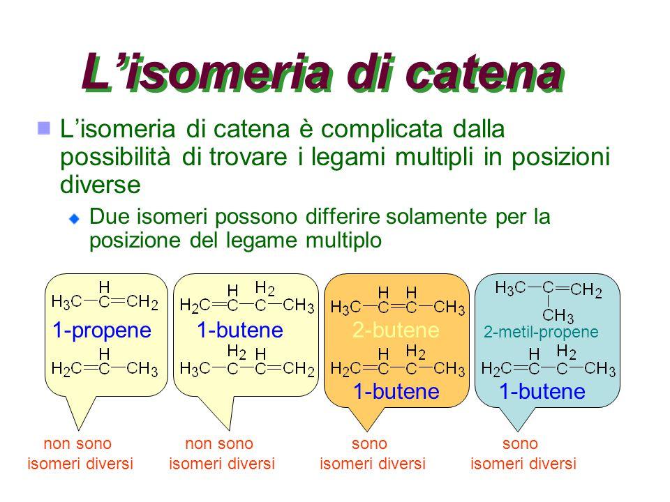 sono isomeri diversi sono isomeri diversi non sono isomeri diversi non sono isomeri diversi L'isomeria di catena L'isomeria di catena è complicata dalla possibilità di trovare i legami multipli in posizioni diverse Due isomeri possono differire solamente per la posizione del legame multiplo 1-propene1-butene2-butene 1-butene 2-metil-propene 1-butene