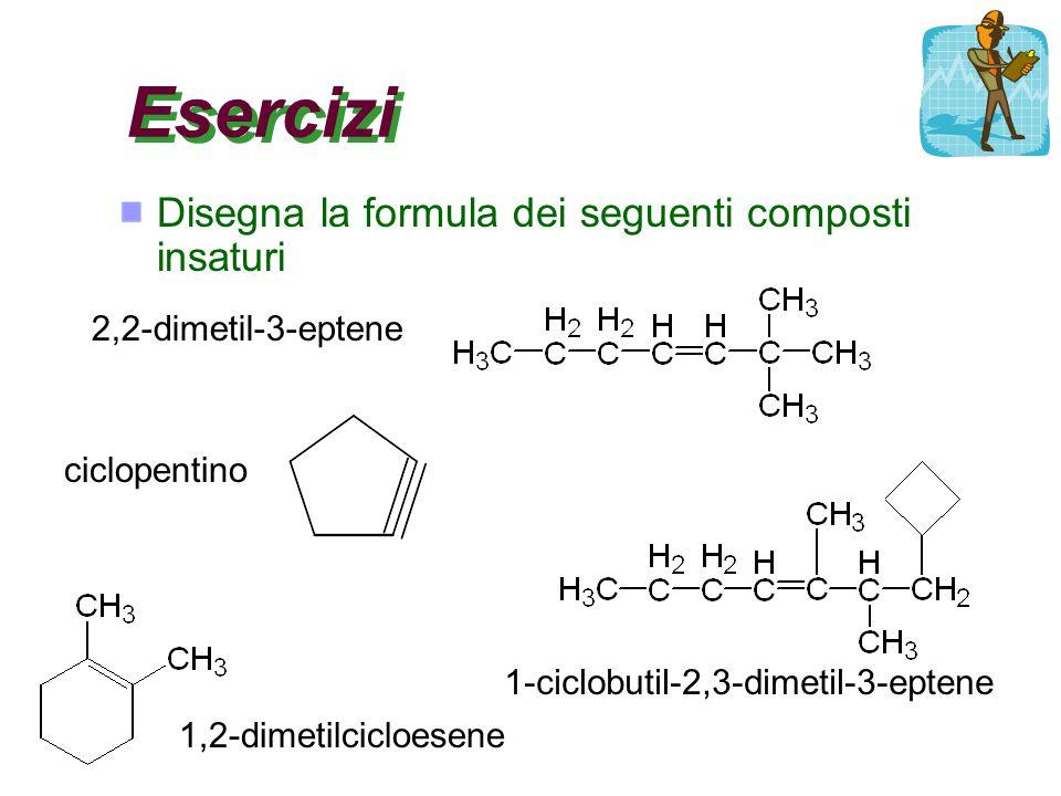 Esercizi Disegna la formula dei seguenti composti insaturi 2,2-dimetil-3-eptene ciclopentino 1,2-dimetilcicloesene 1-ciclobutil-2,3-dimetil-3-eptene
