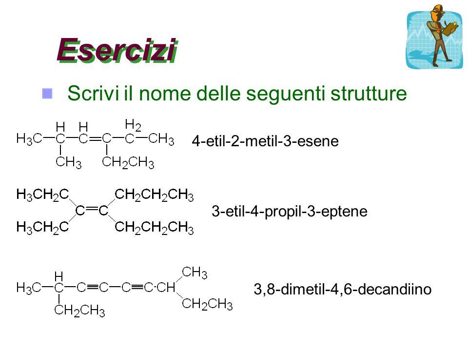 Esercizi Scrivi il nome delle seguenti strutture 4-etil-2-metil-3-esene 3-etil-4-propil-3-eptene 3,8-dimetil-4,6-decandiino