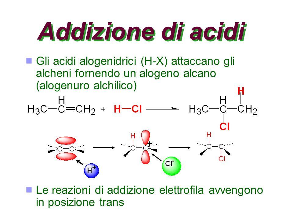 Addizione di acidi Gli acidi alogenidrici (H-X) attaccano gli alcheni fornendo un alogeno alcano (alogenuro alchilico) Le reazioni di addizione elettrofila avvengono in posizione trans