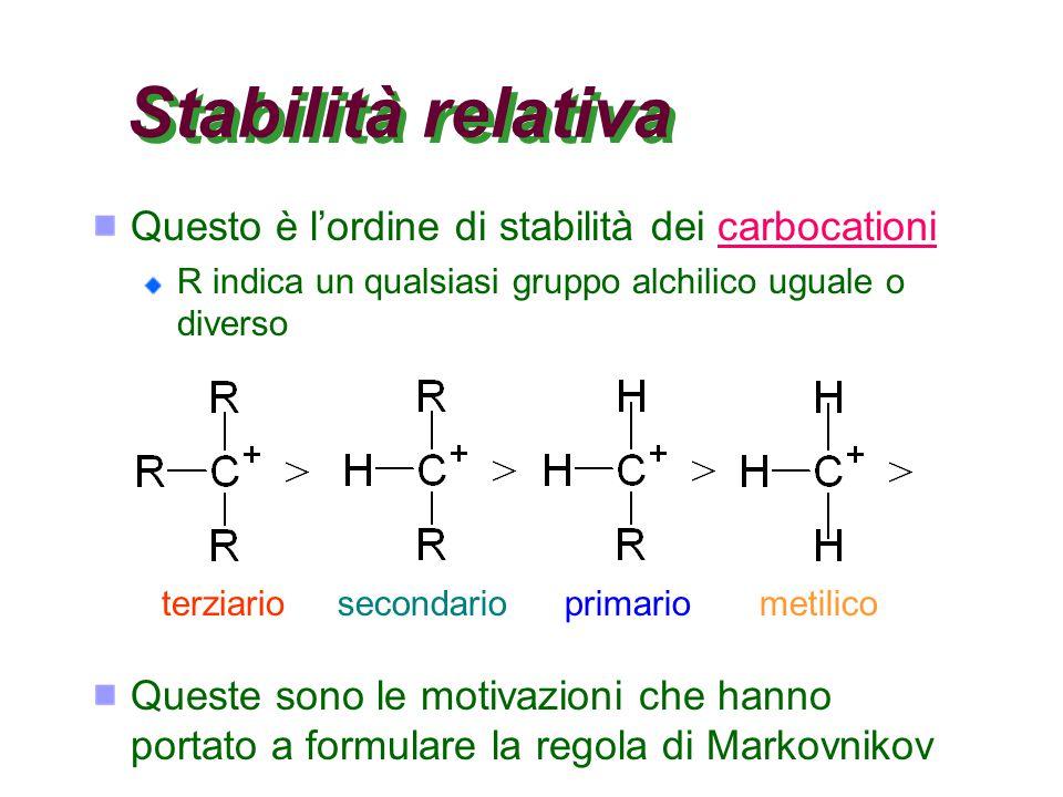 Stabilità relativa Questo è l'ordine di stabilità dei carbocationicarbocationi R indica un qualsiasi gruppo alchilico uguale o diverso terziariosecondarioprimariometilico Queste sono le motivazioni che hanno portato a formulare la regola di Markovnikov