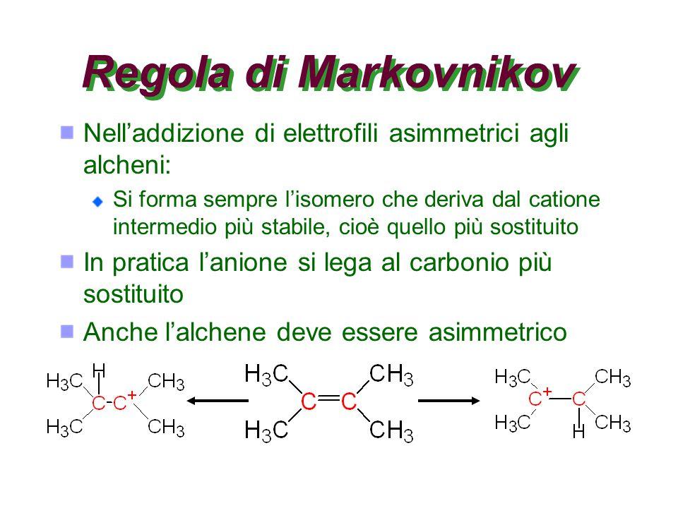 Regola di Markovnikov Nell'addizione di elettrofili asimmetrici agli alcheni: Si forma sempre l'isomero che deriva dal catione intermedio più stabile, cioè quello più sostituito In pratica l'anione si lega al carbonio più sostituito Anche l'alchene deve essere asimmetrico