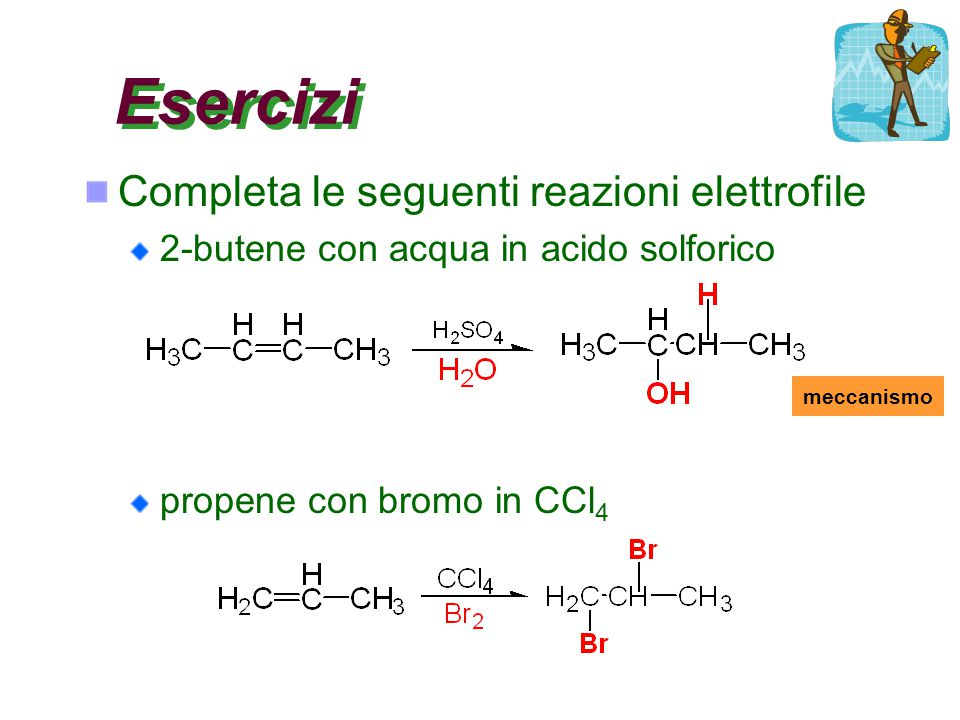 Esercizi Completa le seguenti reazioni elettrofile 2-butene con acqua in acido solforico propene con bromo in CCl 4 meccanismo