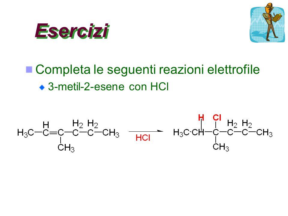 Esercizi Completa le seguenti reazioni elettrofile 3-metil-2-esene con HCl