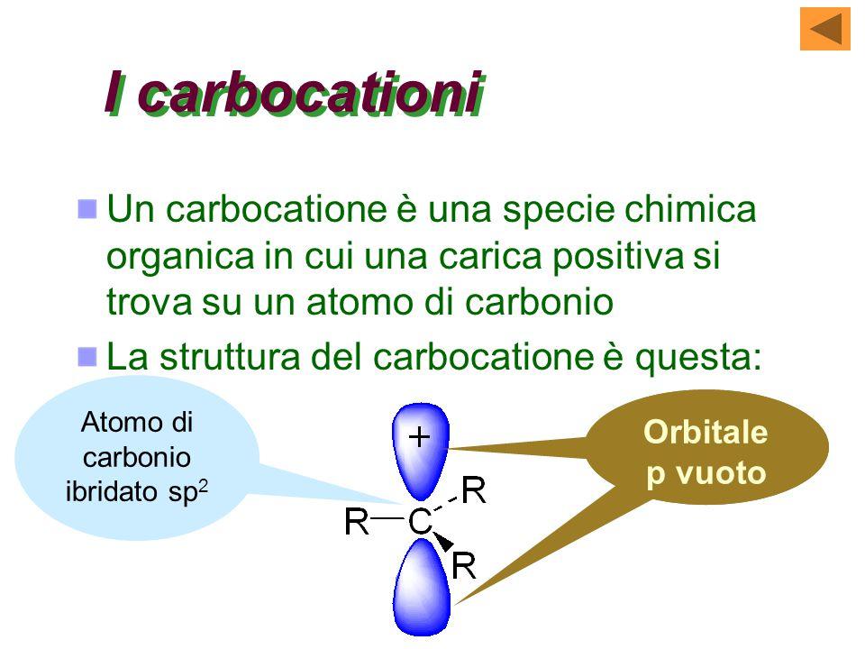 I carbocationi Un carbocatione è una specie chimica organica in cui una carica positiva si trova su un atomo di carbonio La struttura del carbocatione è questa: Atomo di carbonio ibridato sp 2 Orbitale p vuoto