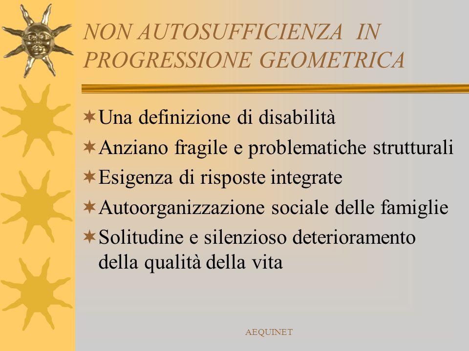 AEQUINET NON AUTOSUFFICIENZA IN PROGRESSIONE GEOMETRICA  Una definizione di disabilità  Anziano fragile e problematiche strutturali  Esigenza di ri