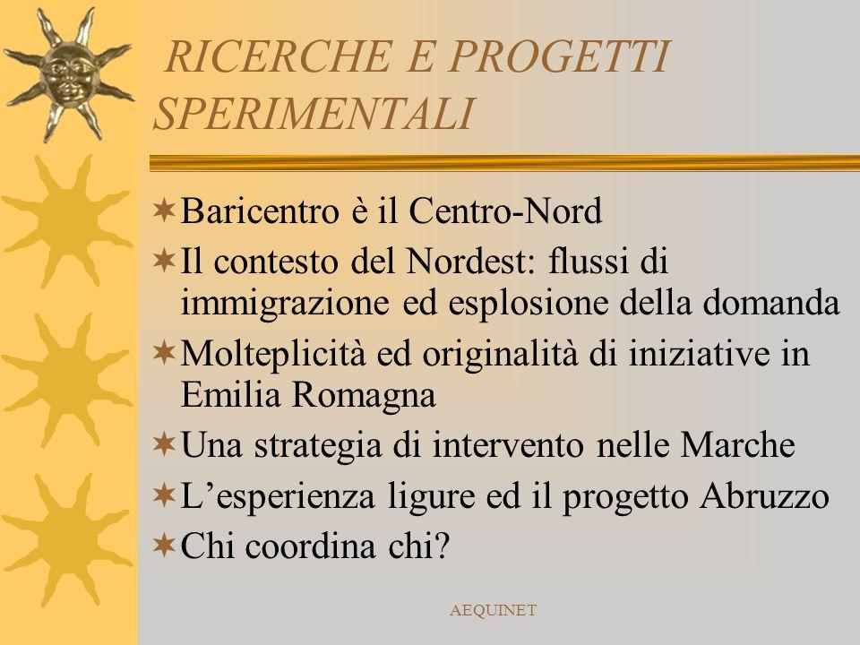 AEQUINET RICERCHE E PROGETTI SPERIMENTALI  Baricentro è il Centro-Nord  Il contesto del Nordest: flussi di immigrazione ed esplosione della domanda