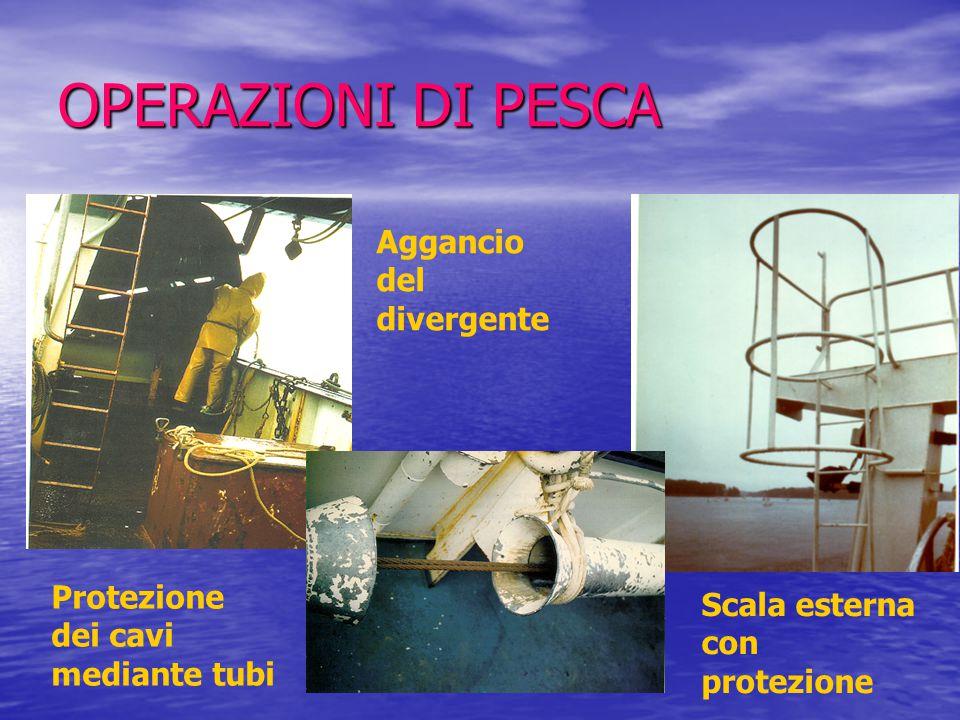 OPERAZIONI DI PESCA Protezione dei cavi mediante tubi Aggancio del divergente Scala esterna con protezione