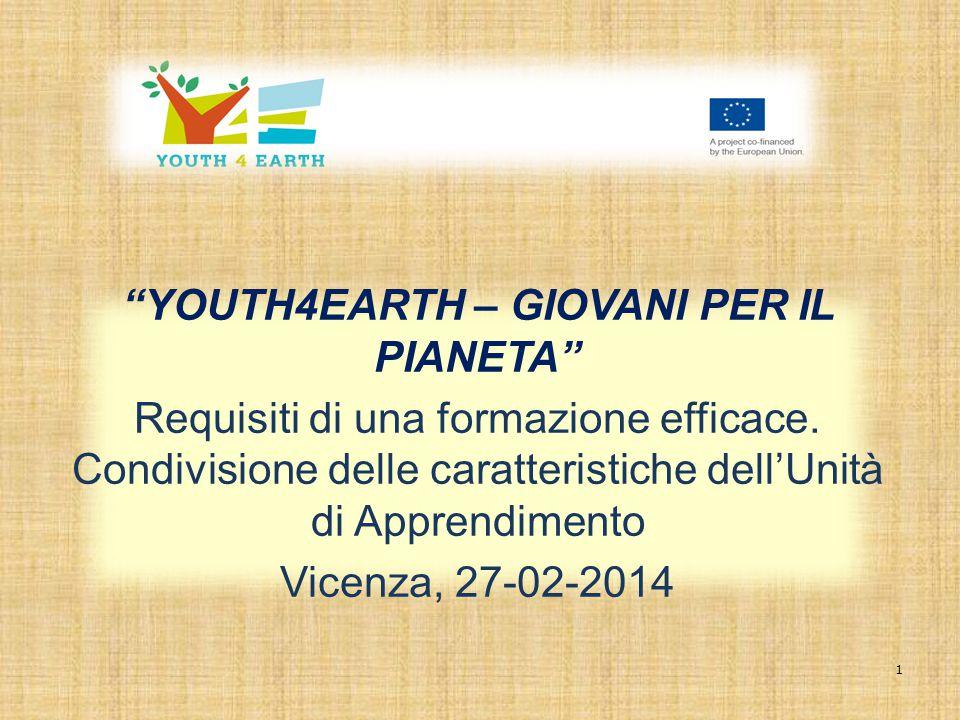"""1 """"YOUTH4EARTH – GIOVANI PER IL PIANETA"""" Requisiti di una formazione efficace. Condivisione delle caratteristiche dell'Unità di Apprendimento Vicenza,"""