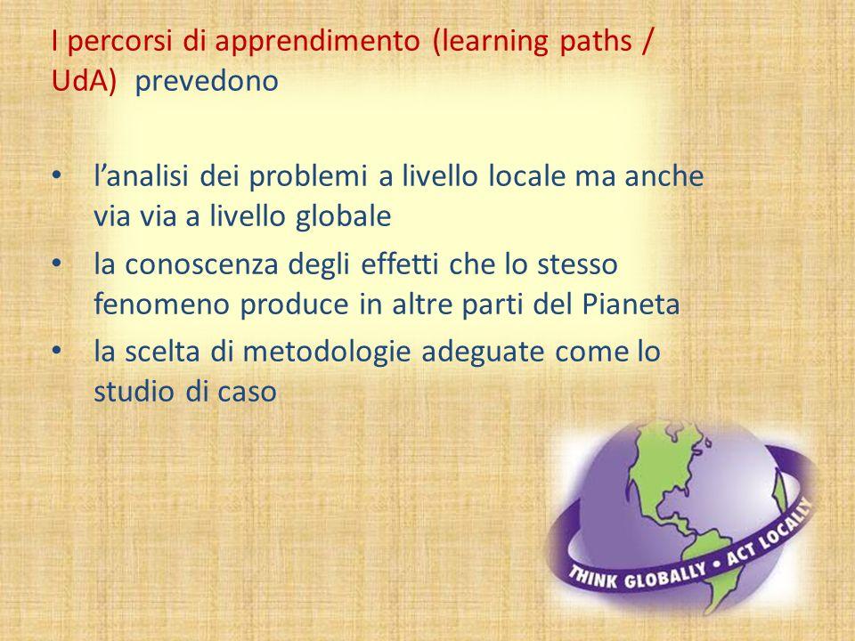 I percorsi di apprendimento (learning paths / UdA) prevedono l'analisi dei problemi a livello locale ma anche via via a livello globale la conoscenza