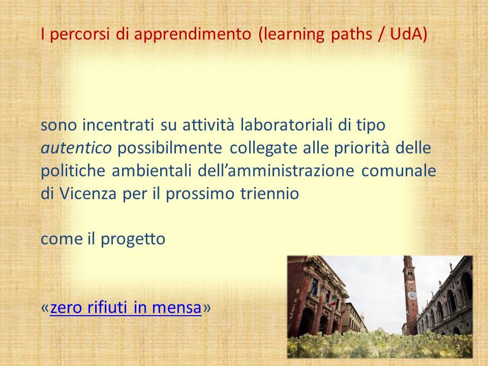 I percorsi di apprendimento (learning paths / UdA) sono incentrati su attività laboratoriali di tipo autentico possibilmente collegate alle priorità d