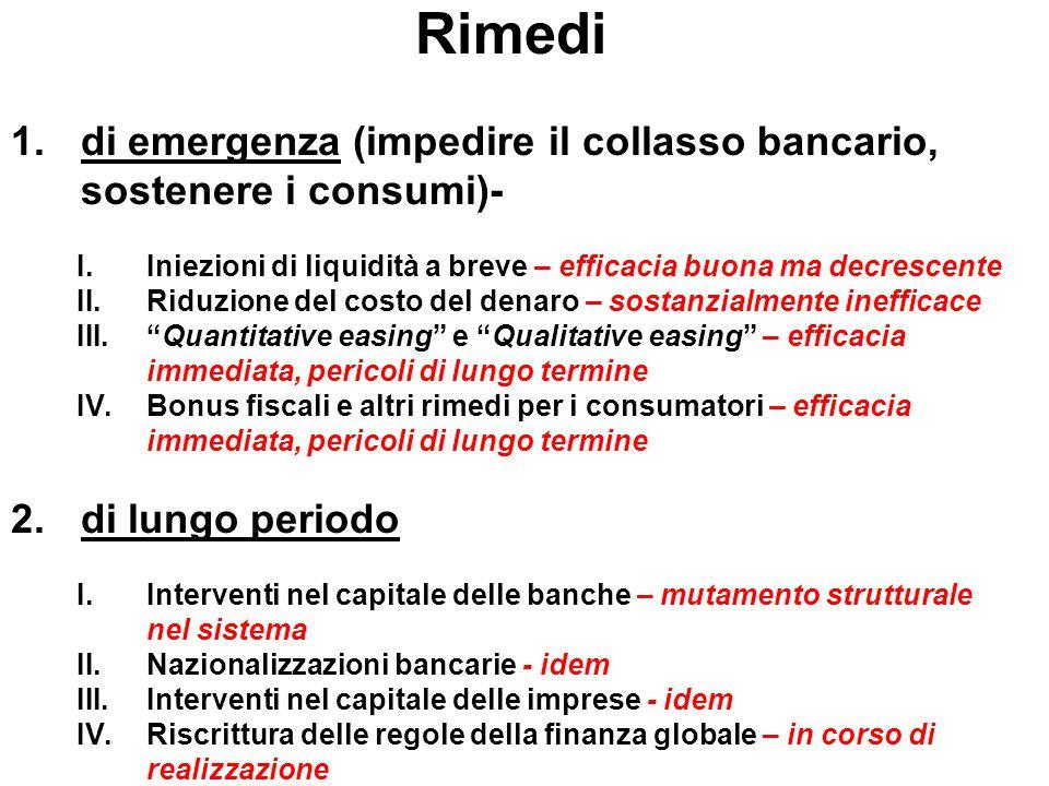 Rimedi 1.di emergenza (impedire il collasso bancario, sostenere i consumi)- I.Iniezioni di liquidità a breve – efficacia buona ma decrescente II.Riduz