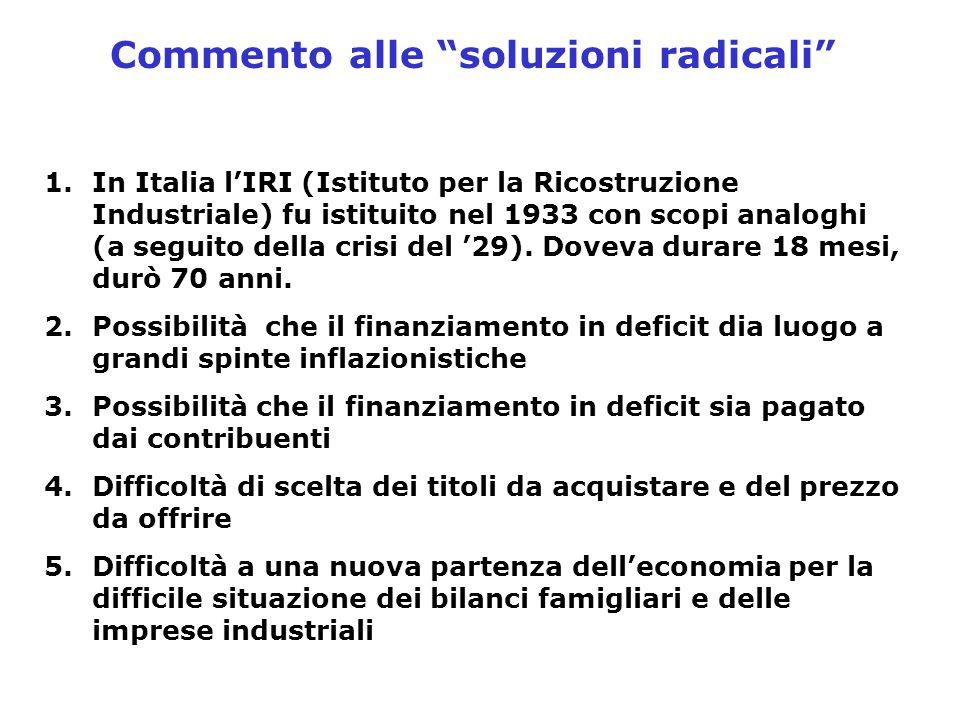 """Commento alle """"soluzioni radicali"""" 1.In Italia l'IRI (Istituto per la Ricostruzione Industriale) fu istituito nel 1933 con scopi analoghi (a seguito d"""