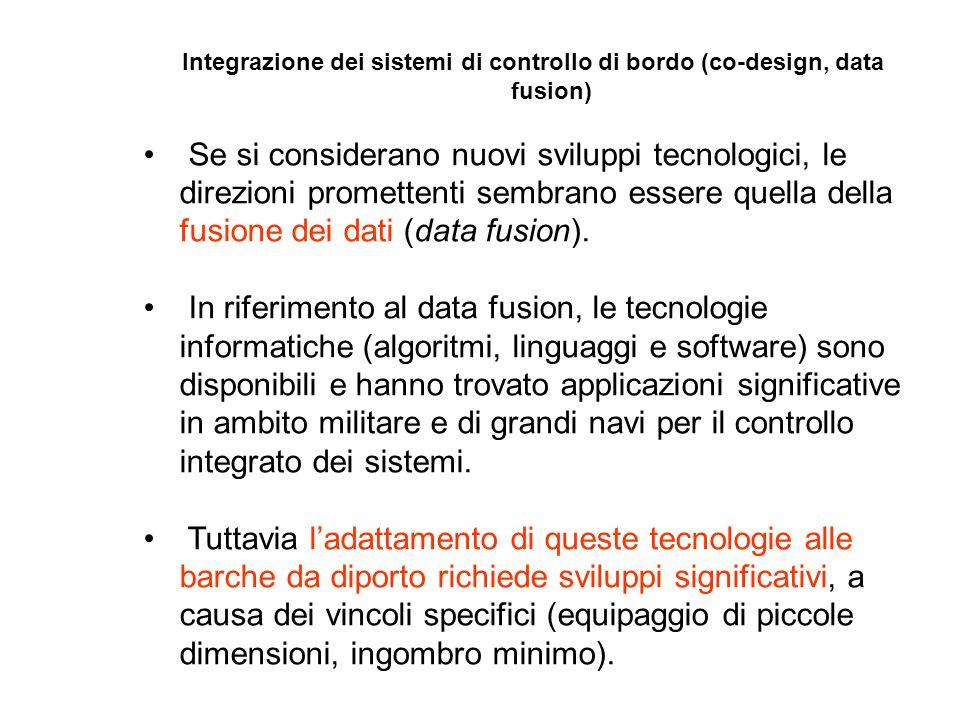 Integrazione dei sistemi di controllo di bordo (co-design, data fusion) Se si considerano nuovi sviluppi tecnologici, le direzioni promettenti sembrano essere quella della fusione dei dati (data fusion).