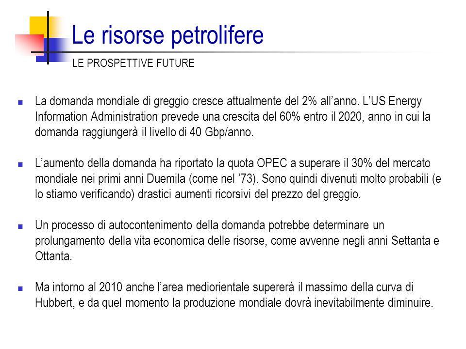 Le risorse petrolifere La domanda mondiale di greggio cresce attualmente del 2% all'anno. L'US Energy Information Administration prevede una crescita