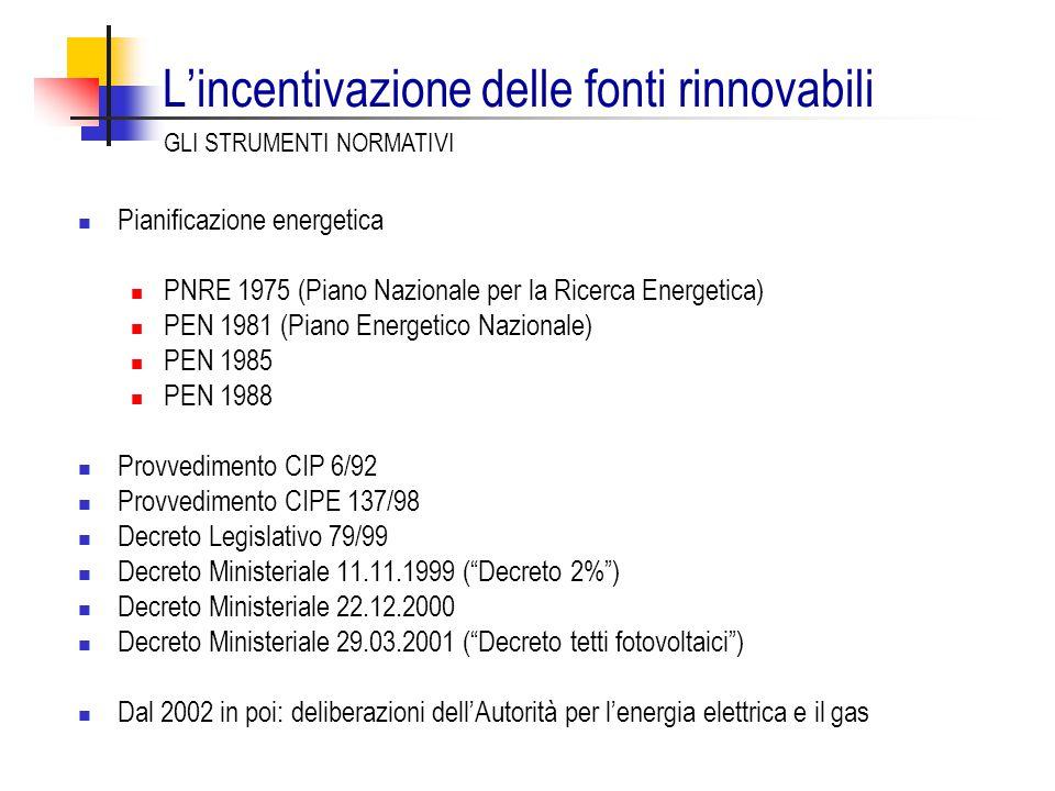 L'incentivazione delle fonti rinnovabili Pianificazione energetica PNRE 1975 (Piano Nazionale per la Ricerca Energetica) PEN 1981 (Piano Energetico Nazionale) PEN 1985 PEN 1988 Provvedimento CIP 6/92 Provvedimento CIPE 137/98 Decreto Legislativo 79/99 Decreto Ministeriale 11.11.1999 ( Decreto 2% ) Decreto Ministeriale 22.12.2000 Decreto Ministeriale 29.03.2001 ( Decreto tetti fotovoltaici ) Dal 2002 in poi: deliberazioni dell'Autorità per l'energia elettrica e il gas GLI STRUMENTI NORMATIVI