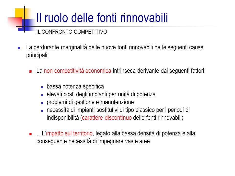 Il ruolo delle fonti rinnovabili La perdurante marginalità delle nuove fonti rinnovabili ha le seguenti cause principali: La non competitività economi