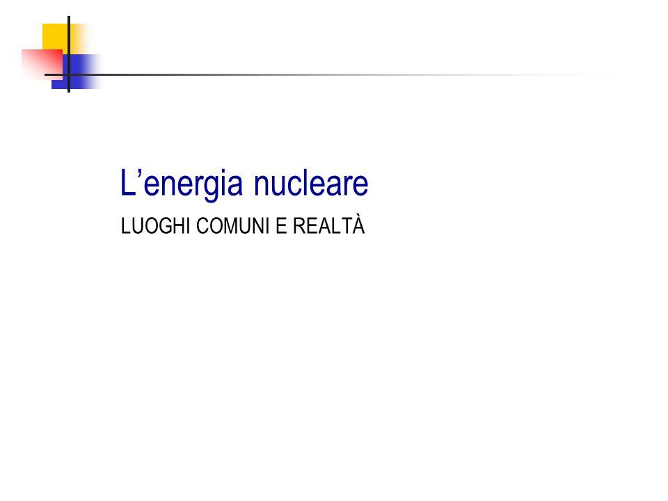 L'energia nucleare LUOGHI COMUNI E REALTÀ
