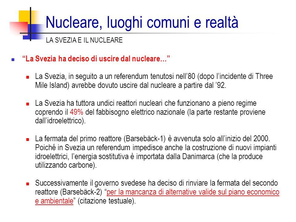 La Svezia ha deciso di uscire dal nucleare… La Svezia, in seguito a un referendum tenutosi nell'80 (dopo l'incidente di Three Mile Island) avrebbe dovuto uscire dal nucleare a partire dal '92.