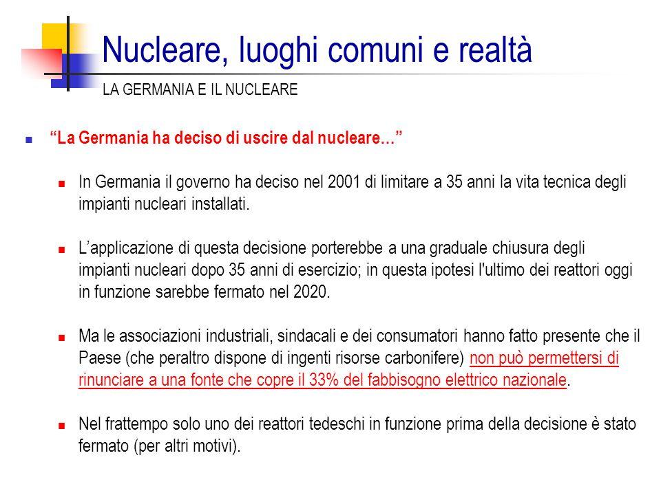 """""""La Germania ha deciso di uscire dal nucleare…"""" In Germania il governo ha deciso nel 2001 di limitare a 35 anni la vita tecnica degli impianti nuclear"""
