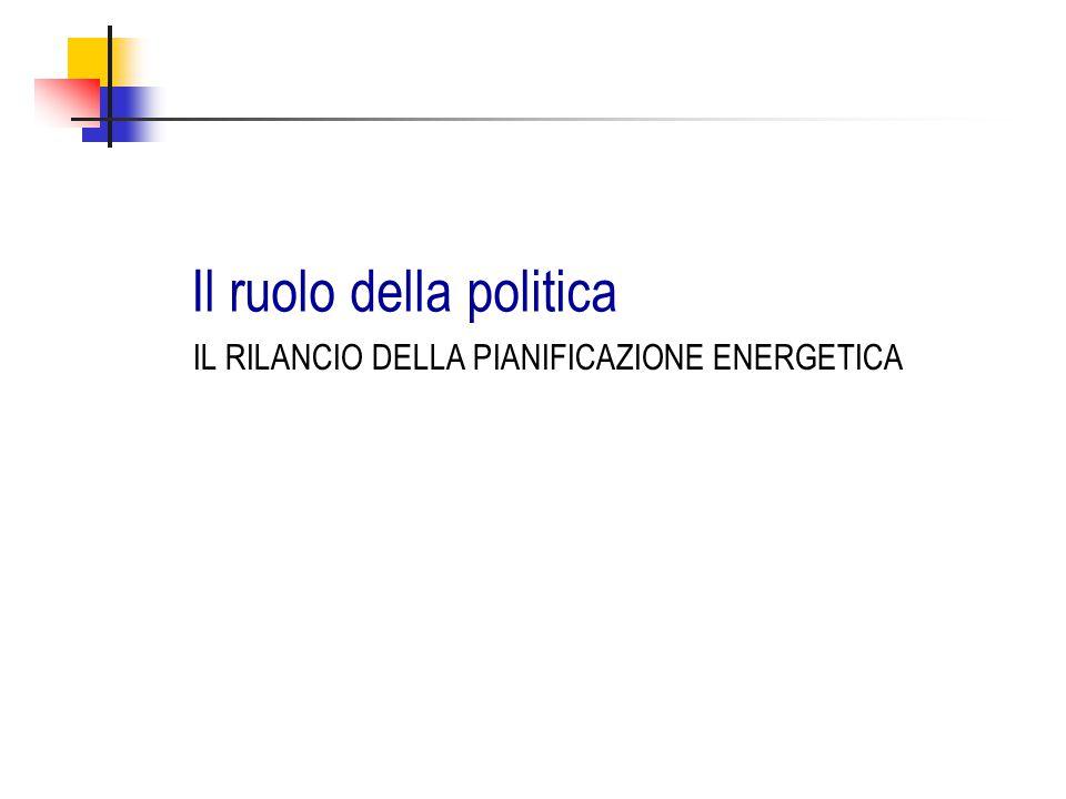 Il ruolo della politica IL RILANCIO DELLA PIANIFICAZIONE ENERGETICA