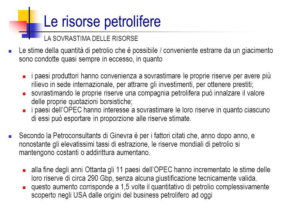 Le risorse petrolifere LA SOVRASTIMA DELLE RISORSE Le stime della quantità di petrolio che è possibile / conveniente estrarre da un giacimento sono condotte quasi sempre in eccesso, in quanto i paesi produttori hanno convenienza a sovrastimare le proprie riserve per avere più rilievo in sede internazionale, per attrarre gli investimenti, per ottenere prestiti; sovrastimando le proprie riserve una compagnia petrolifera può innalzare il valore delle proprie quotazioni borsistiche; i paesi dell'OPEC hanno interesse a sovrastimare le loro riserve in quanto ciascuno di essi può esportare in proporzione alle riserve stimate.