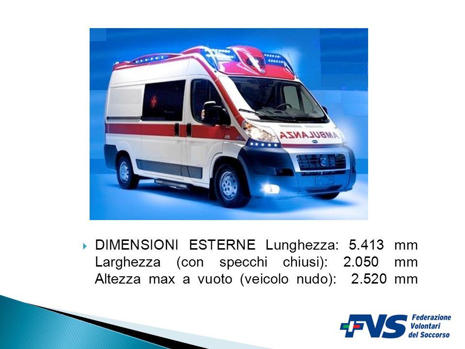 2  DIMENSIONI ESTERNE Lunghezza: 5.413 mm Larghezza (con specchi chiusi): 2.050 mm Altezza max a vuoto (veicolo nudo): 2.520 mm