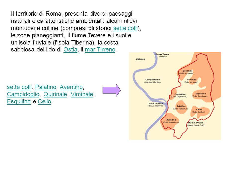Il territorio di Roma, presenta diversi paesaggi naturali e caratteristiche ambientali: alcuni rilievi montuosi e colline (compresi gli storici sette colli), le zone pianeggianti, il fiume Tevere e i suoi e un isola fluviale (l isola Tiberina), la costa sabbiosa del lido di Ostia, il mar Tirreno.sette colliOstiamar Tirreno sette collisette colli: Palatino, Aventino, Campidoglio, Quirinale, Viminale, Esquilino e Celio.PalatinoAventino CampidoglioQuirinaleViminale EsquilinoCelio