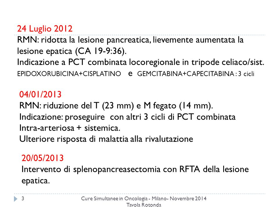 Cure Simultanee in Oncologia - Milano- Novembre 2014 Tavola Rotonda 4 26/11/2013 RMN: Progressione epatica(noduli multipli) Diagnosi diabete iatrogeno, avviata terapia insulinica.